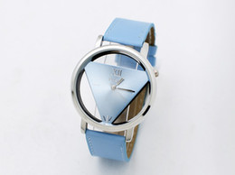 Wilon Triangle Watches Double-sided hollow woman watch PU strap Fashionable quartz watch newest