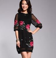 Round silk dress - Women s Fashion Silk embroidered dress Lace Slim Flower Party Dress SILK summer dress BLACK L new