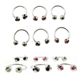 Wholesale G Horseshoes stainless steel crystal Nose lip Eyebrow ring body piercing jewelry