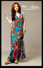 Wholesale 2012 hot sale summer Bohemian long dresses blue and pink ladies blue clothing