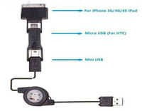 Wholesale in1 Retractable USB Data Cable for with micro Pin Mini Pin Free DHL