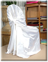 Wholesale white satin universal chair cover for wedding party