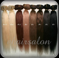 Wholesale 70g g g g Full Head Silky Straight Remy Clip in Human hair extension Black Brown Blonde optional quot quot