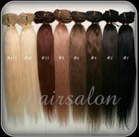 achat en gros de extensions de cheveux clip mix-70g 100g 120g 160g Plein tête Silky Straight Remy Clip dans l'extension des cheveux humains Black Brown Blonde optionnel 16