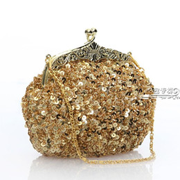 Free shipping lady's sequin beaded gold vintage party evening handbag clutch wedding bridal handbag