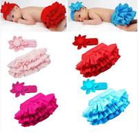 Medium baby nappies kids - Kid Child Baby Girl Ruffle Skirt Pants Headband hairbands Bloomers Nappy Costume Pure Color M