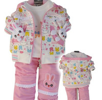 Girl 2-5 year  8/10/12 new baby clothing children clothes cotton three-pieces Rabbit suit wear+vest + pants 3pcs lot Cut