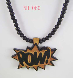 Wholesale Good wood POW Piece Good Quality Wood Pendant with quot Wooden Ball Chain Necklace Black NH