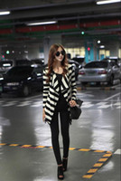 Wholesale Womens coat clothing stripe Lapel Cardigan Casual short Blazer Jacket Outerwear Coats