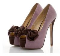 Wholesale 2012 Sexy Purple Bow Pumps Peep Toe Fantastic High Platform Stiletto Heel Dress Shoes Colors