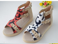 Wholesale New China rivets leopard grain white girls Roman sandals thick princess of children s shoes