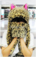 Wholesale promotion cat ears Cute Cartoon Animal Cap with gloves Earmuff Beanie fluffy plush Hat