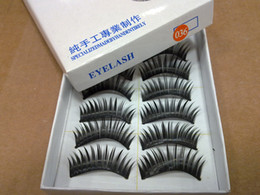 Wholesale Long Human Hair Eyelashes - Hand-made False eyelashes 100pairs  lot (10pairs=1 box) 2 models( natural and thick for choose) Free