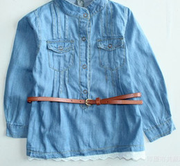 Wholesale KIDS Toddler girls jean shirt lace jacket with belt light wash button down2 years new mix10pcs