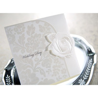Invitation Cards embossed wedding invitations - White Rose Embossed Wedding Invitation Tri fold Engagement Invitations Gift Cards