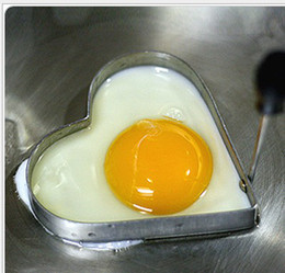 Wholesale 10 Mini Heart Shape Egg Cooker Stainless Steel Heart Shape Fried Egg Potato Cake Tool Retail Package