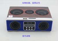 Wholesale Wooden Mini Sound box Boombox MP3 player Mobile Speaker SD Card USB FM Radio SU12 Red Blue Black