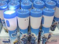 Wholesale New The Smurfs led flashlight pen Cartoon ball pen blue ballpoint water Gift ballpoint pen