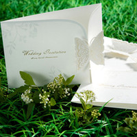 Wholesale Laser cut Butterfly Wedding Invitation Invites Engagement Party Favor Invitation Cards