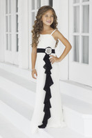 Wholesale Delicate Spaghetti Sash Black And White Flower Beads Chiffon A line Long Flower Girl Dresses