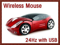 Wholesale Crystal box packing Ferrari car shape wireless mouse GHz USB RF optical Laptop Blue ray Mice