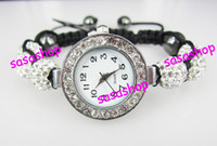 Fashion beads fashion watches - Fashion Bling Disco Ball Bracelet Style Pave Crystal Disco Beads Watch Friendship Gift