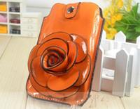 apple messenger bags - PU Messenger Bag camellia phone holder Coin Wallet Coin Purse Phone Holder for i9100 g