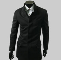 Wholesale 2012 HOT Men s jacket simple tunic Slim stand collar jacket sweater long coat Gray black navy