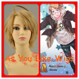 Wholesale Axis Powers Hetalia APH Alfred F Jones Short Golden Anime Cosplay Costume Party Hair Full Wig M253
