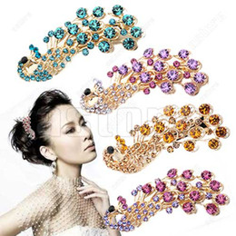 Wholesale 10 Fashion Women s Peacock Crystal Rhinestones Hairpin Hair Clip