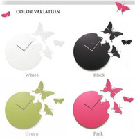 Digital   SILENT MODERN Interior Decor Wall Clock Unique DIY Adhesive Butterfly Movement Wall Clock 20pcs lot