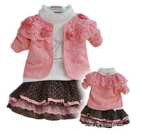 Wholesale Autumn Spring kids baby sets Girl s pieces skirt suits Children hot sale clothes sets