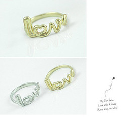 Lovers New Factory Fashion Jewelry Alloy Girl Finger Rings Love Letter Ring 24pcs 2 Colors Wholesale