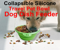 Wholesale Collapsible Silicone Travel Pet Bowl Dog Dish Feeder metal buckle non toxic
