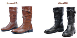 Men's Leather Shoes Knee-High Boots,Punk Cross Lace-Up Black Zipper Leather Outer Military Boots,EU Size 39-44