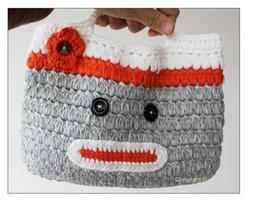 Girls crochet monkey handbag , Toddler Kids Handmade Crochet Cute Sock Monkey Handbag Purse Bag