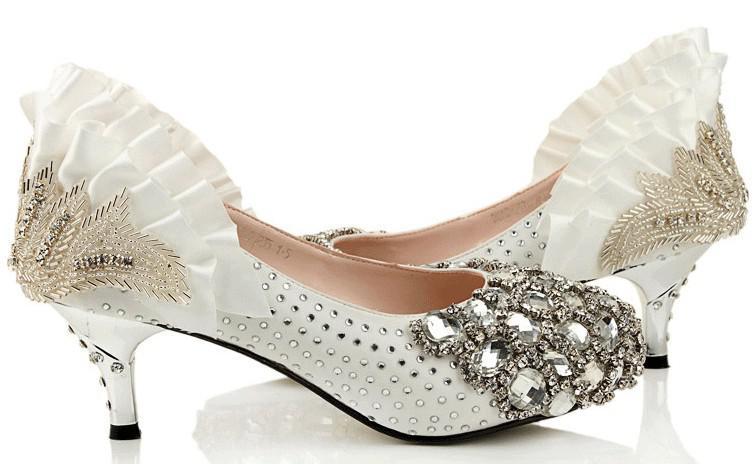 white 6cm rhinestones high heels prom evening dress