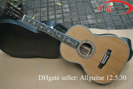 Wholesale 40 Hand made advanced Acoustic Guitar abalone inlaid fretboard Solid Red Pine amp rosewood back side