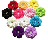 Hair Clips Children's Day  Free Shipping 120pcs Fashion Peony Flower Baby Hair Bows Flower Head Flowers with Hair Clips