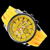 Wholesale 2012 Fashion New Black GENEVA Tyres Big Dial Mens Silicone Quartz Wrist Watch Watches Ladies Mens
