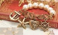 Wholesale vintage antique bracelet elastic band alloy Imitation Pearls Pendant Bracelet wristband jewelry