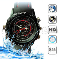 Wholesale spy watch hidden camera video recorder Waterproof Leather Wrist Camcorder DVR GB