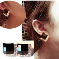 Wholesale luxury black gem diamond earrings women sexy fashion lovely vintage punk wedding earring lady s gift