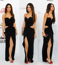 Wholesale Custom Made Sexy Selena Gomez Billboard Music Awards Halter Chiffon Sheath Celebrate Dress
