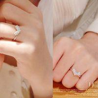 Wholesale 249 promotion women girls sexy fashion lovely wedding jewelry silver rhinestone heart shape rings