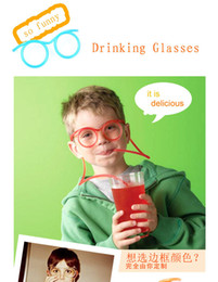 Wholesale Hot Selling sunglasses drinking straw Funny Kids Colorful Soft Glasses DIY Straw Unique Flexible Drinking Sunglasses Tube Kids Party Gift