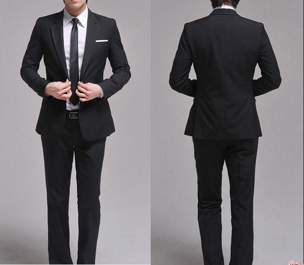 2017 Slim Men's Suits Jacket Pants 2 Button Black Size S Xxl Men's ...