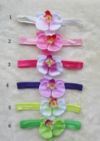 Wholesale 50pcs Moth Orchids flowers Headbands Baby Hair Bows Kid s Ribbon Children Head Accessories