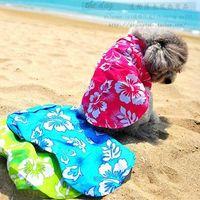 Wholesale Hawaii shirt couples dress puppy dog clothes