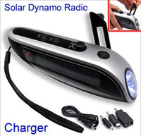 Wholesale Solar Power Hand Winding Crank Dynamo LED Flashlight Torch FM Radio Charge Vb5